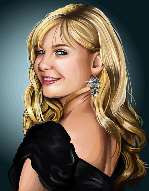 Kirsten dunst celebrity vector vexel illustrations