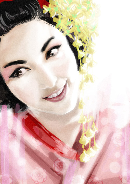 Pink beautiful lovely geisha artwork illustration