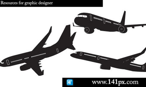 Airplane silhouettes free vector