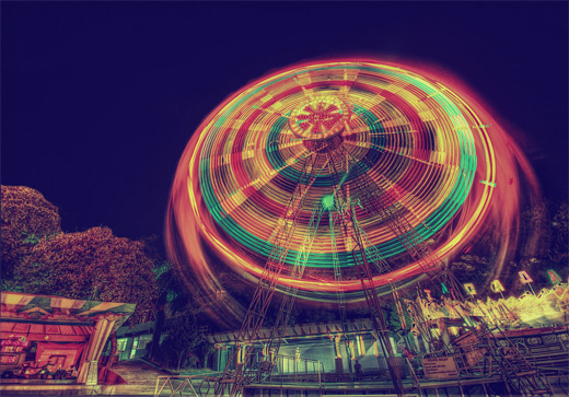 Cool awesome long exposure ferris wheel photography
