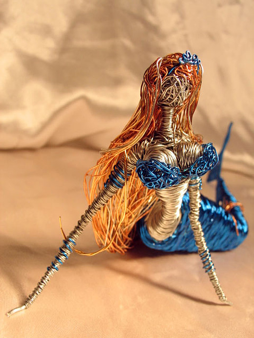 Blue mermaid wire sculpture