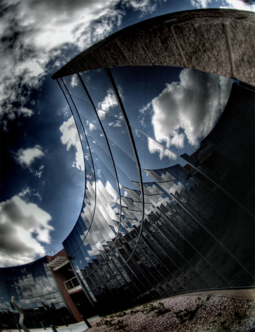 Glass building fisheye view fish eye photography