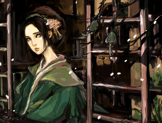 Mature woman scenery toph avatar artwork illustrations
