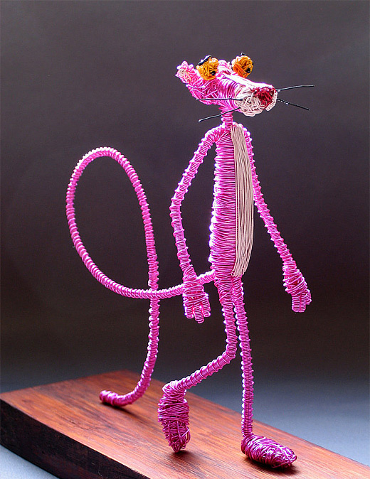 Pink panther wire sculpture