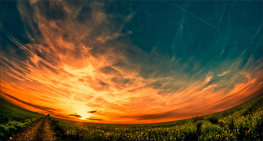 Amazing artistic sunset fisheye view fish eye photography