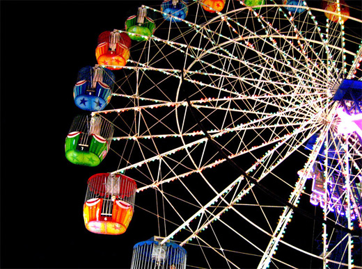 Night colorful ferris wheel photography