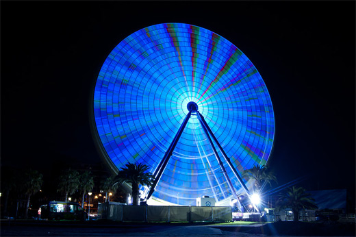 Blue long exposure ferris wheel photography