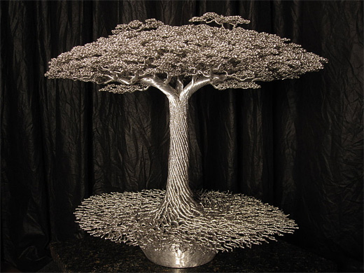 Aluminum silver tree wire sculpture