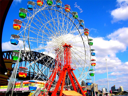 Sydney colorful ferris wheel photography