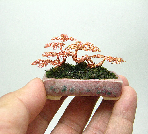 Bronze brown copper bonsai wire sculpture
