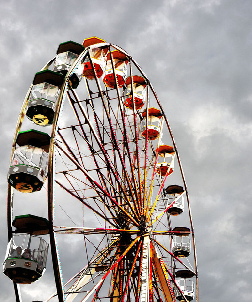 Grey sky clouds ferris wheel photography