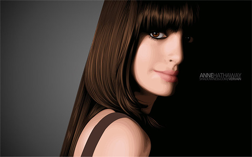 Anne hathaway celebrity vector vexel illustrations