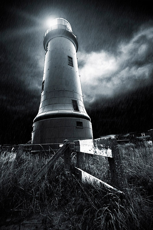 Rain dark lighthouse photography