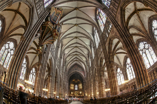 Cathedral church Strasbourg fisheye view fish eye photography