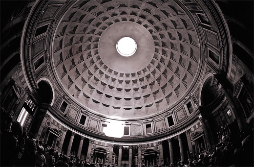 Amazing pantheon inside interior fisheye view fish eye photography