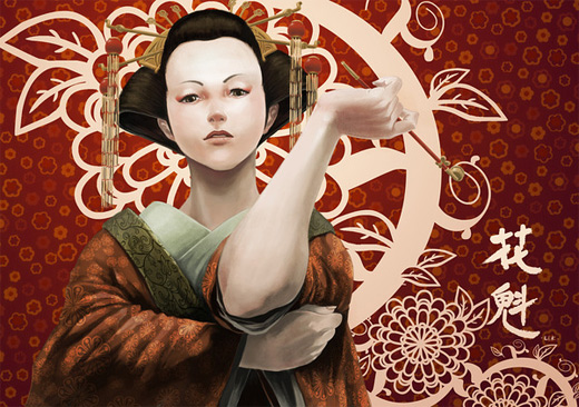 Artistic geisha artwork illustration