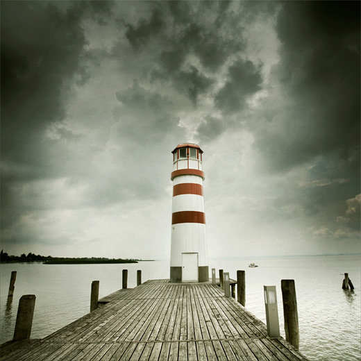 Dark clouds lighthouse photography