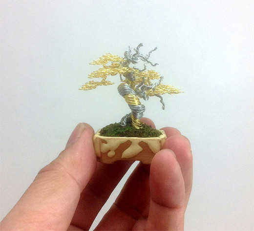 Tiny bonsai gold wire sculpture