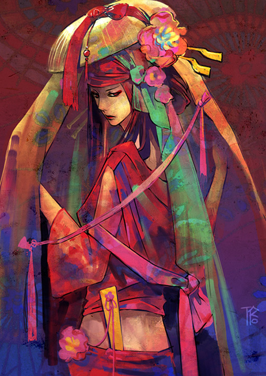 Colorful geisha artwork illustration