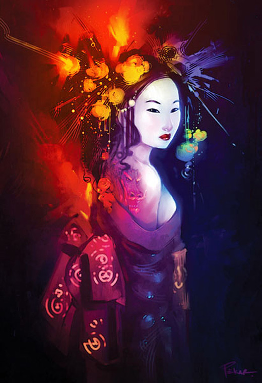 Airbursh air brush geisha artwork illustration