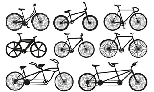 12 Bicycle Silhouette Vectors