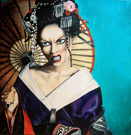 Angry scary geisha artwork illustration