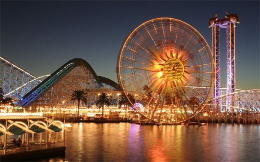 Sun night ferris wheel photography