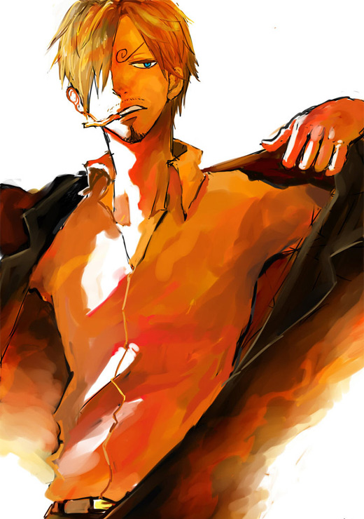 Red sanji one piece illustrations artworks