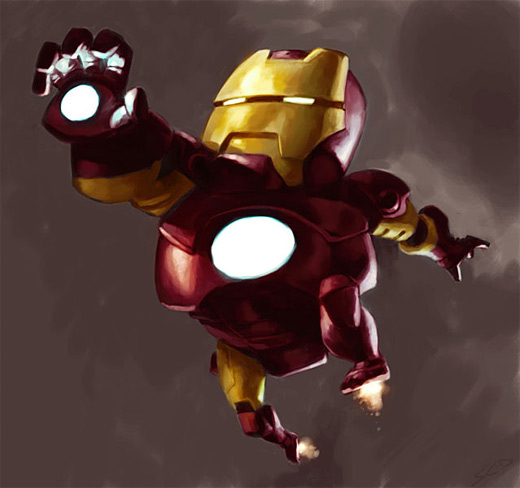 Fat funny little ironman iron man illustrations artworks