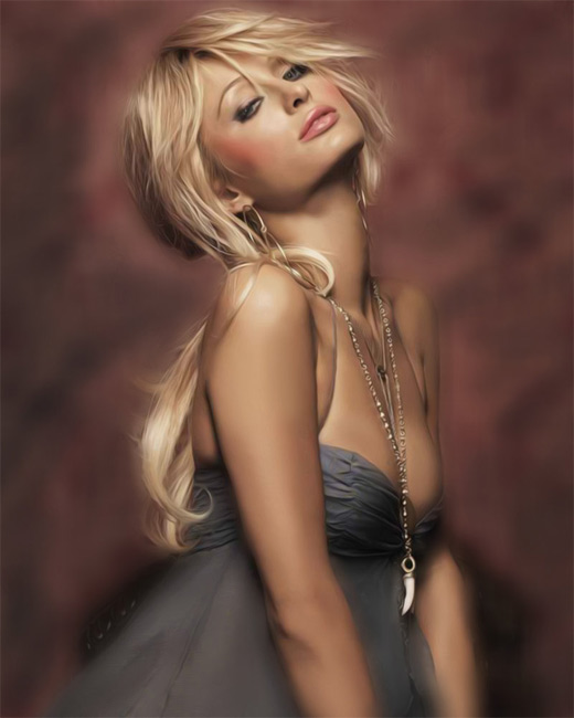 Paris hilton digital art painting celebrity