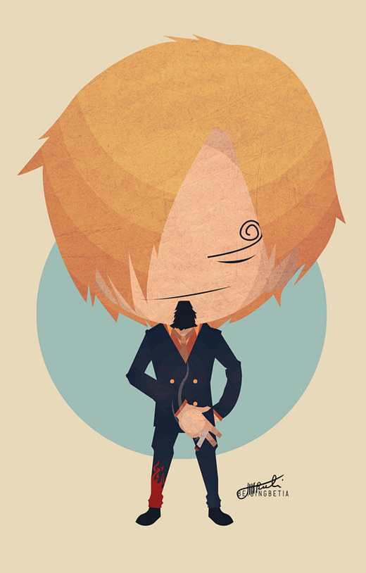 Cartoon big head sanji one piece illustrations artworks