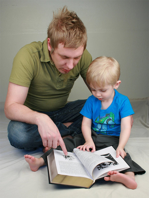Reading father child son daughter photography