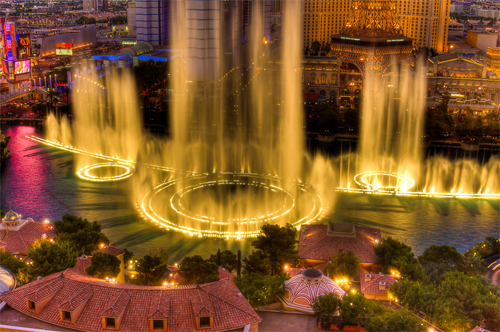 The Bellagio Fountains at Night