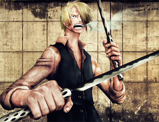 Realistic sanji one piece illustrations artworks