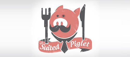 The suited piglet logo