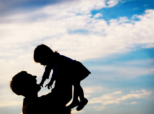 Silhouette father child son daughter photography