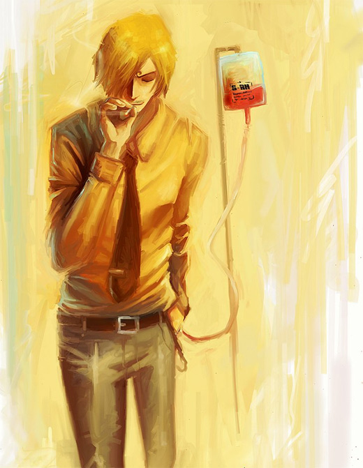 Blood sanji one piece illustrations artworks
