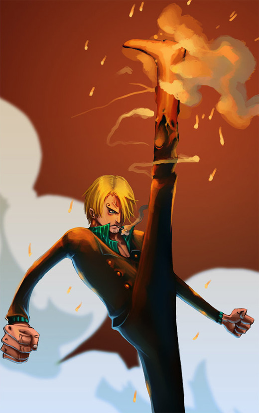 Explosive kick sanji one piece illustrations artworks