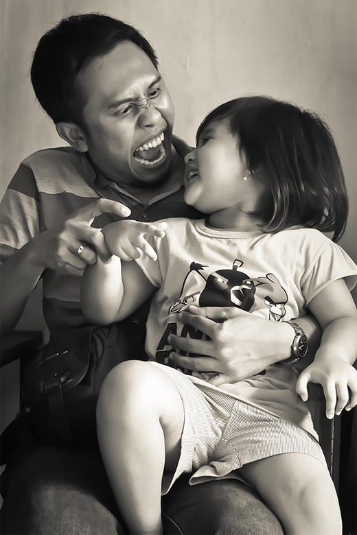 Funny father child son daughter photography