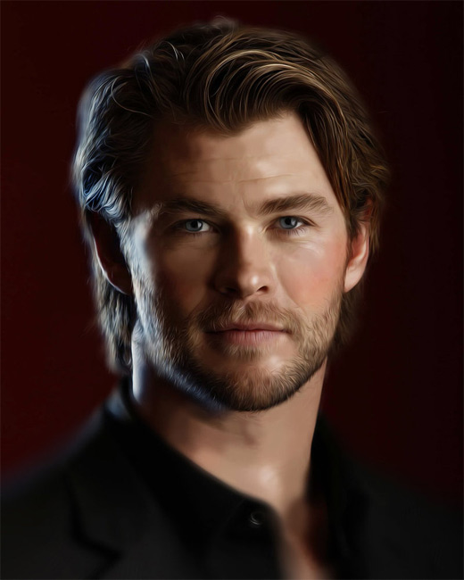 Chris hemsworth digital art painting celebrity