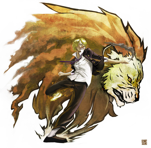 Lion sanji one piece illustrations artworks