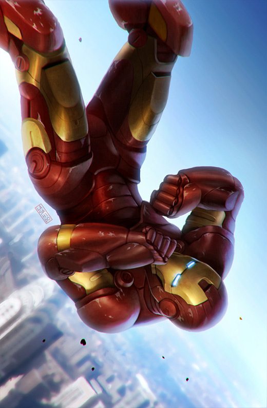 Falling ironman iron man illustrations artworks