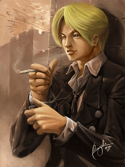 Handsome sanji one piece illustrations artworks