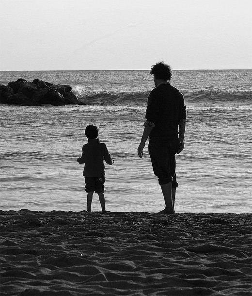 Beach father child son daughter photography
