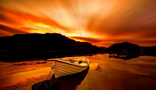 Orange sky susnet boats free wallpapers hi res high resolution