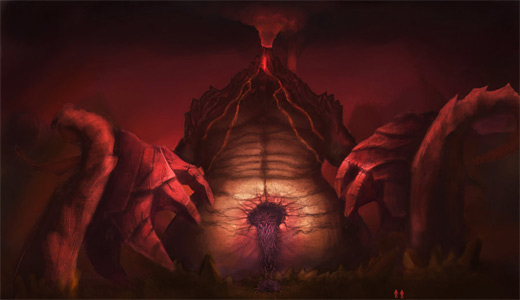 Volcano red rift earth colossus illustrations artworks