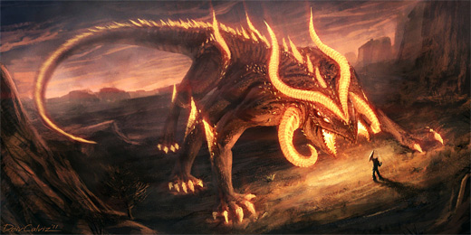Salamander reptile fire colossus rift video game