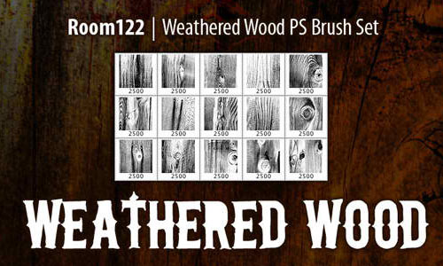 15 Weathered Wood Photoshop Brushes