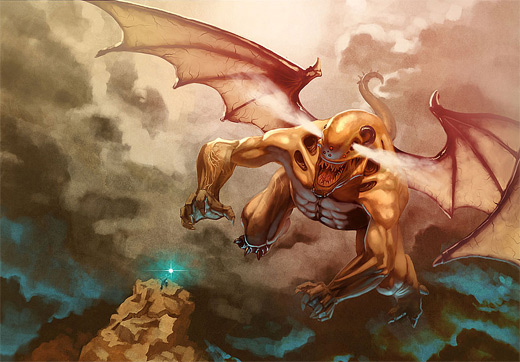 Brown flying monster air colossus rift video game