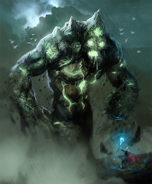 Green rift earth colossus illustrations artworks